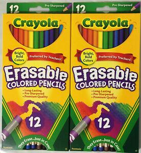 Lot of 2 Boxes Crayola Erasable Colored Pencils Non-Toxic Pre-Sharpened 12ct/Box