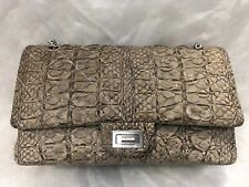 """Authentic Chanel 12"""" Jumbo Reissue Beige Python Double Flap Bag with Silver HW"""