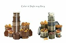 Chocolate Snacks Cookies Nuts Pretzels Popcorn Gift Tower Box Basket Color Vary