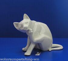 Keramik weiss Katze sitzend Figuren Skulpturen  Dekofiguren Porzellan katzen