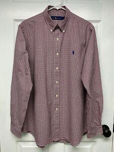 Ralph Lauren Polo Mens L/S Burgundy Gingham Check Button-Down Shirt: L, Pony