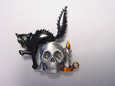 """JJ"" Jonette Jewelry Silver Pewter 'Black Cat & Skull' Halloween Pin"
