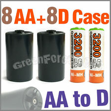 8 3200mAh AA NiMH Battery Ultra O+ 8 AA to D HR20 Holder Case Adaptor Converter