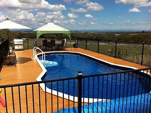 Certified  Aluminium Pool /Garden Fence Panel 2.4M - Flat Top Black 1200x2400