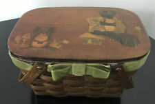 Antique Vintage Painted Turtle Mouse Lacquered Lid Wooden Basket with Handles