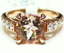4.3ct ct 14K Gold natürlich MORGANIT Weiß Diamant Vintage Ehering Verlobungsring