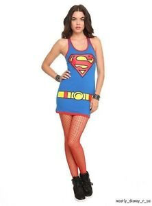 New DC Comics Superman Costume Dress Juniors Sizing S Small Superhero Super Man
