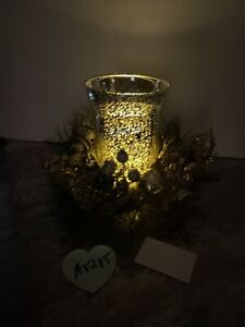 """8"""" mercury Glass Hurricane Gold Pinecone Ornament Valerie Parr Hill Lighted"""