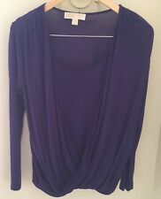 Michael Kors Faux Wrap Front Top Purple Long Sleeves Size M