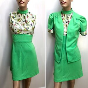 VTG 60s-70s MOD ACID GREEN High-Neck HALTER Op-Art FLOWER MINI DRESS & JACKET NR