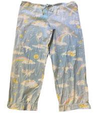 Rare Nick & Nora Blue Unicorn Print Pajama Pants Bottoms Pre-Owned Size Large