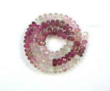 PINK and BI-COLOR TOURMALINE faceted rondelle beads AA+ 3.5-4,5mm 8.5""