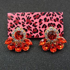 Hot Betsey Johnson Red Enamel Lovely Flower Girl Crystal Women Stud Earrings