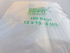 "ZIPLOCK BAGS 12x15 CLEAR 4 MIL 100pcs RECLOSABLE ZIP LOCK LARGE BAG 12""x15"" 4mil"