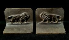 Antique Pair 1880 To 1920 B&H Lion Book Ends Cast Iron Heavy High Quality VFINE