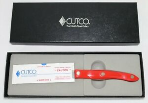"""New In Box 4.5"""" CUTCO Red Handle 1768 Spreader Spatula Engraved Knife Knives USA"""