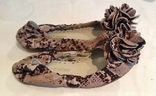 Juicy Couture New Brown Tan Snakeskin Leather Shoes Pumps Girls Size 12 (EU 31)