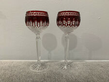 Pair of Waterford Crystal Clarendon Pattern Ruby Red Wine Hock Glasses