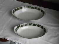2 Platten, Schalen Triptis Porzellan Weinlaub Goldrand, Romantika 28,5 und 23,5