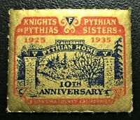 1935 Knight Pythias and Sisters 10th Anniversary for California Home