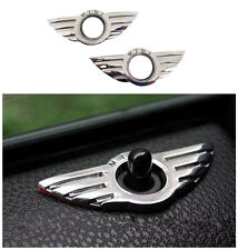 2x MINI COOPER CHROME door pin lock wing badge DECAL TRIM 3D Emblem R50 R53 R56
