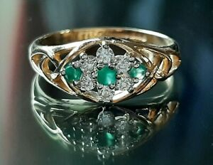 9ct Gold Emerald & Cubic Zirconia Ring, Size M, Weight 1.9g.
