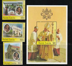 ST LUCIA Scott 835-838 1986 Papal Visit of Pope John Paul II