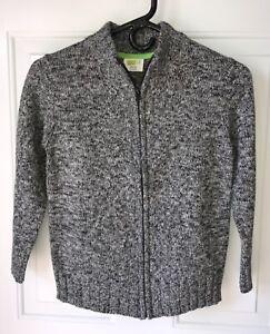 EUC Boys Crazy 8 Black White Marled Knit Zippered Cardigan Sweater, Size M (7-8)