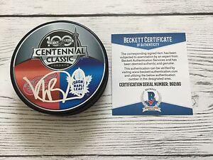 Mike Babcock Signed 2017 Maple Leafs Centennial Classic Puck Beckett BAS COA a