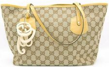 Auth GUCCI GG canvas Beige Patent leather handle Tote Bag Italy 211976 Hawaii