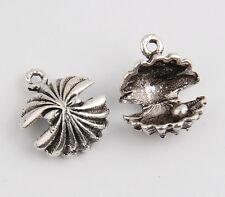 12pcs Pearl Seashell Tibetan Silver Charms Pendants 16mm HN58