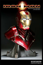 SIDESHOW  IRON MAN Life SIZE BUST Mark III BATTLE DAMAGED Version STATUE Movie