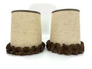 PAIR Vtg Woven Brown Tan Ruffle Trim Small Drum Bedroom Lamp Shade Clip