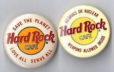HARD ROCK CAFE  BUTTON 2er Set-Save the Planet&No Drugs or Nuclear