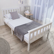 Single Bed Frame in White 3ft Solid Wooden Frame. Fits Single Mattress 190x90 Cm