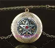 Vintage Metal Pentagram Photo Cabochon Glass Brass Locket Pendant Necklace