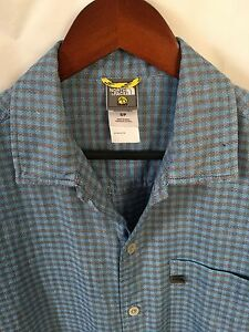 The North Face Men's Black/Blue Plaid Short Sleeve Button Front Shirt Small