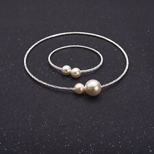 Women Cute Simple Simulated Pearl Latest Necklace & Bracelets Jewelry Set
