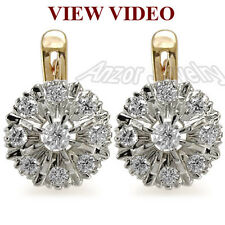 Russian Vintage Style Genuine Diamond Earring Solid 14k Rose & White Gold E1072.