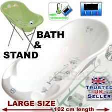 Large Baby Bath Baby Tub 102 cm with thermometer + STAND White OWL