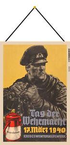 Tag der Wehrmacht Blechschild Schild mit Kordel Tin Sign 20 x 30 cm FA0161-K