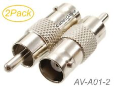 2-Pack BNC Female to RCA Male 75ohm Coaxial Metal Adapter, AV-A01-2