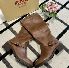 NIB Mossimo Lawson Boots Brown Leather High Boot Buckle Zip Target Womens 9 NEW