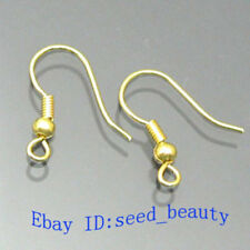 100PCS Jewelry Findings Gold Plated Ball & Coil Earwires Earring Hook About 15mm