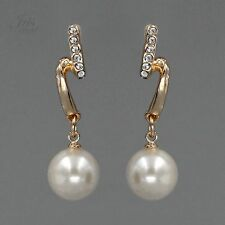 18K Gold Plated GP Pearl Clear Crystal Rhinestone Drop Dangle Earrings 00956 New