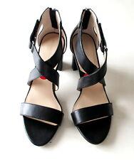NEW Adrienne Vittadini Gadin Women's Black Leather Sandals Block Heel Strappy 10