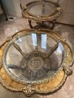 Hollywood Regency Glass Top Gilt and Faux Marble Coffee and End Table