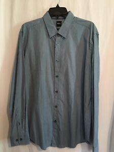 Hugo Boss Shirt Sz XL Long Sleeve Blue Slim Fit Stretch Cotton $128