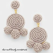 HIGH END BEIGE PEARL ESSENCE BEADED CHANDELIER EARRINGS CHUNKY FASHION JEWELRY