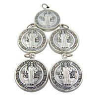Pack of 5 Silver Saint Benedict Evil Protection from Sacramental Devotion Medal